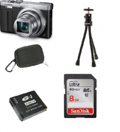 Panasonic DMC-TZ71EG silber Kit, mit Zusatzakku, 32GB SDHC Ultra und Hardbox schwarz + Mini Stativ